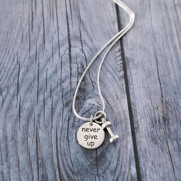 Sterling Silver Never Give Up Dumbbell Necklace