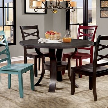 Furniture of america CM3518RT-EX 5 pc gisela ii transitional style espresso finish wood round dining table set