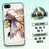Indian, Skull, Feather, iPhone 5 case, iPhone 5C Case, iPhone 5S case, Phone case, iPhone 4 Case, iPhone 4S Case, Phone Skin, SK04