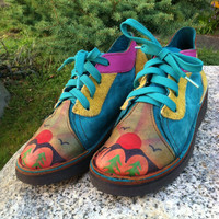 Vintage OOAK Hand Painted Leather Patchwork Shoes 6 6.5 Oxford Boots Mountain Sunrise Crepe Soles Grunge Hippie Navajo Aztec Native Hiking