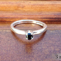 Black Spinel Sterling Silver Ring, Promise Ring, Engagement Ring, Black Diamond Alternative, Bridesmaids Gifts, Wedding Ring, Free Shipping