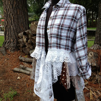 Shabby Flannel Babydoll plaid lace OOAK boho dress duster lagenlook reconstructed top, M