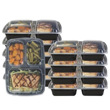 Heim Concept 3 Compartment Premium Meal Prep Food Containers with Lids (Set of 10) | Overstock.com Shopping - The Best Deals on Plastic Storage