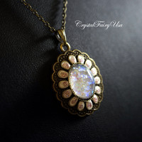 Glow In The Dark Necklace - Opal Necklace - Swarovski White Fire Opal  - Retro Glowing Galaxy  Necklace -  Starry  Sky Necklace