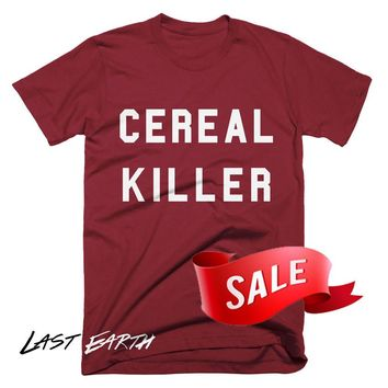 Mens Large On Sale - Cereal Killer T Shirt Funny Tees Pun TShirts Gifts Valentines Day Gift Shirts Foodie Shirt Present Boyfriend Shirts