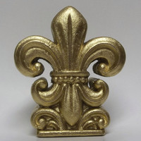 Fleur De Lis - Paper Weight - Home Decor - Metallic Gold - Office Decor