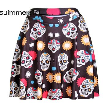 High Waist Skirts Womens Bottom Short Boho Style Skull Camflouage Leopard Skirt Vintage Sexy Mini Plus Size Skirt 2017 Autumn