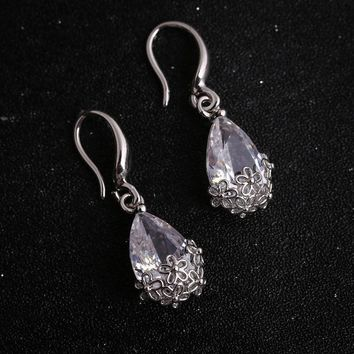 Water Droplets Silver Alloy Hot Sale Floral Hollow Out Accessory Earrings [11192928788]