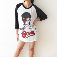 David Bowie Shirts Ziggy Stardust Glam Rock Baseball Tee Shirt Raglan Long Sleeve T-Shirt Size M