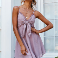 Fashion Summer New Sexy Showback Suspender with Butterfly Knot Pure Color Dress