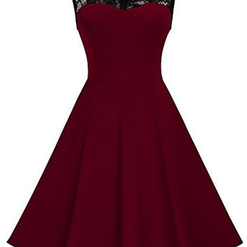 HOMEYEE Women's Vintage Chic Sleeveless Cocktail Party Dress A008