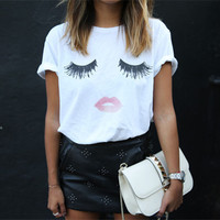 Women Summer Loose T-shirt Eyelash Lips Printed Graphic White T-Shirts Tops Tees