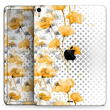 "Karamfila Yellow & Gray Floral V8 - Full Body Skin Decal for the Apple iPad Pro 12.9"", 11"", 10.5"", 9.7"", Air or Mini (All Models Available)"
