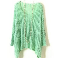 Green Fluffy Retro Pullovers with Batwing Sleeves