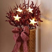 Lighted Stars Country Berry Basket Rustic Primitive Wall Art Mantel Table Decor