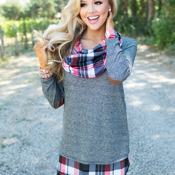 Plaid Accents with Suede Elbow Patch Tunic