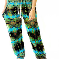 Asian Bohemian Harem pant  boho pant gorgeous  one size fits all handmade for women  Hippie Gypsy Loose Trousers