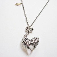 animal jewelry giraffe necklace, giraffe jewelry necklace, animal necklace, heart silver necklace, unique necklace, filigree jewelry, silver