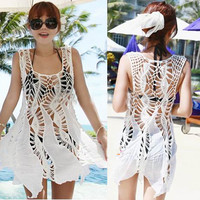 Crochet Cutout Beach Cover Up Knitted Sleeveless Top