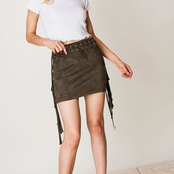 Fringe And Faux Suede Skirt