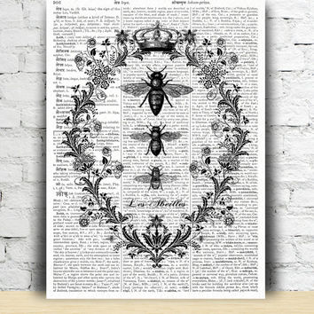 Bees poster Dictionary print Insect drawing Honeycomb art TO162