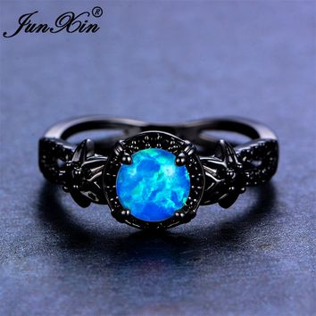 JUNXIN Brand Female Blue Opal Ring 2017 Fashion Flower Ring Black Gold Filled Jewelry Vintage Wedding Rings For Women