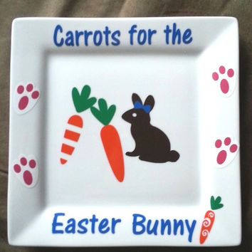 Easter Plate, Carrots for the Easter Bunny, Easter Bunny plate, boys and girls, gift, bunny prints, Holiday Decor, Spring, Easter Sunday
