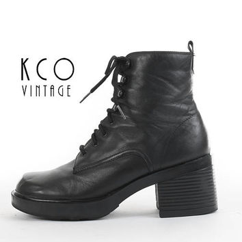 Platform Boots 8 Lace Up Black Leather Boots Chunky Boots 90s Grunge Goth Vintage Platform Ankle Boot Women's Size US 8 / UK 6 / EUR 38 - 39