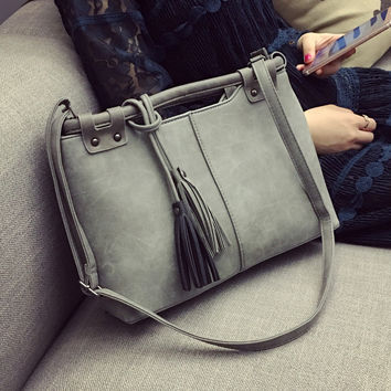 Gray Tassel Large Leather Crossbody Shoulder Handbags Sunglass Gift