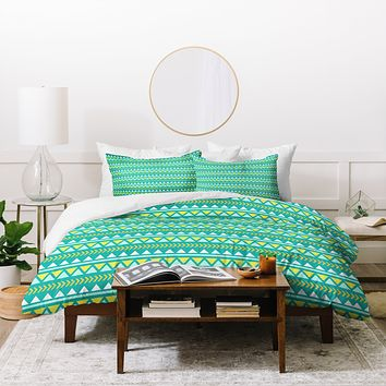 Allyson Johnson Teal And Yellow Aztec Duvet Cover
