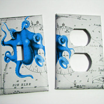 Light Switch Cover - Light Switch Plate Octopus Nautical Chart