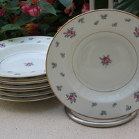 Royal Jackson Rambler Rose vintage china, set of 8 soup bowls