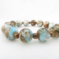Aqua Blue Mottled Brown Summer Beach Unique Stacking Bracelet Boho Chic Trendy Contemporary Gift  Trending