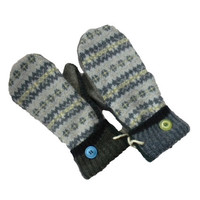 WOOL MITTENS, Recycled Wool, Handmade in Wisconsin Women's Fleece Lined Gift Upcycled Blue Gray Yellow Green Sweaty Mitts Fair Isle Gift