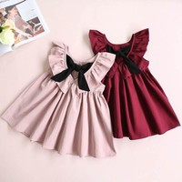 2018 Toddler Girl Tutu Dress Kids Baby Ruffle Princess Party Wedding Pageant Dresses Kids Girls Backless Dress Bow Dresses
