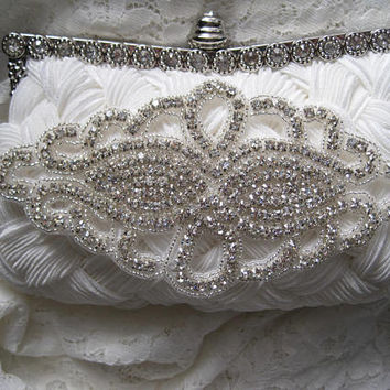 Beautiful Light Ivory Satin Pleated Front Crystal Frame Clutch with Crystal Appliqué Bridal Accessories Clutches Bridal Wedding Clutch