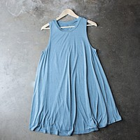 Final Sale - BSIC - sleeveless burnout swingy tank dress - heathered blue