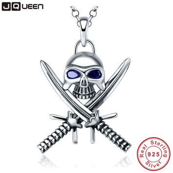 925 Sterling Silver Necklace Double Knife Man Skull Pendant Necklace Punk Style Pirate Jewelry Sapphire Statement Necklace
