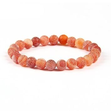 8mm Natural Garnet and Agate Round Beads Bracelet for Men & Women
