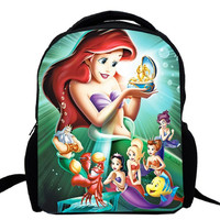 15inch Little Mermaid bagpack double layer custom made primary kindergarten school bag for girl princess Ariel
