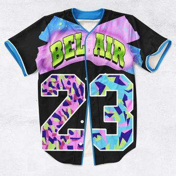 ESB8UH 2 Colors Real AMERICAN USA Size Custom made Fashion 3D Sublimation Print Bel Air 23 - Fresh Prince Baseball Jersey Plus Size