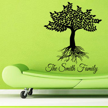 Custom Family Name Wall Decals Family Tree Roots Living Room Decor Floral Interior Design Home Decor Vinyl Art Wall Decor Kids Room KG751