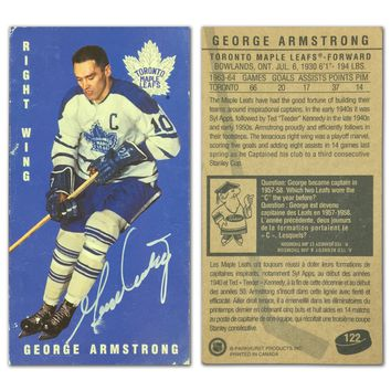"""AUTOGRAPHED GEORGE ARMSTRONG TALL BOY CARD - TORONTO MAPLE LEAFS - """"AS IS"""""""
