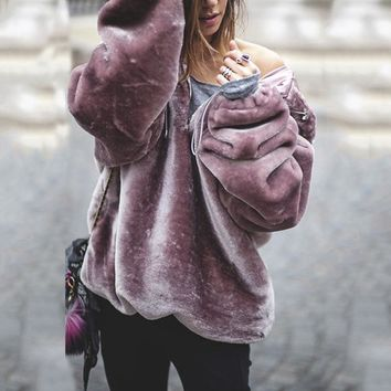 Women Winter Faux Fur Coat Girl's Jacket Streetwear Women Lamb Wool Coat Pink Overcoat Long Sleeve Hooded Outwear Cardigan Hot