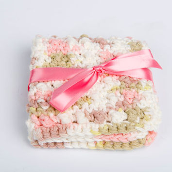 Cotton Washcloth, Scrubbie Crochet - varigated pink and khaki