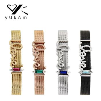 YUKAM Jewelry Keeper Crystal Birthstone Love Slide Charms Stainless Steel Mesh Keeper Bracelets for Women Girl Lover Party Gifts