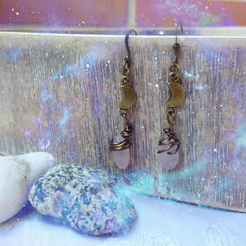 Crescent Moon Quartz Earrings. Bohemian Pink Quartz Moon Earrings. I love you to the moon and back. Moon jewelry. Bronze dangle earrings