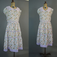 1920s Sheer Floral Dress, Cotton Organdy, 36 bust, TLC, Stoffel's Swiss Fabrics, Vintage Day Dress