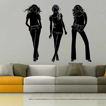 kik3005 Fashion Wall Decal Lady Vinyl Sticker Woman Vinyl Wall Decals Beauty Salon Girls Hair Salon Wall Decal Fashion Girls Room Decor