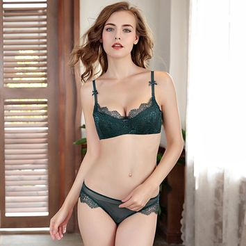Femal Intimates Sexy Lingerie Set Lace Eyelashes Bra Brief Plus size Underwear Women Bra Set Thin ABCD Cup Push Up Bra And Pant